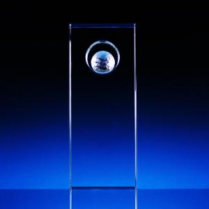 2D skleněná trofej s volitelným míčkem